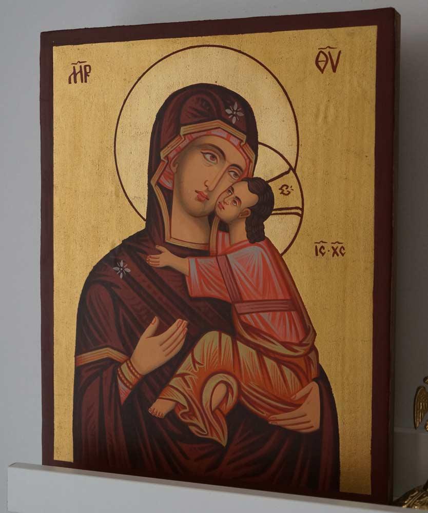 Theotokos Eleusa Nesebar Hand Painted Orthodox Icon on Wood