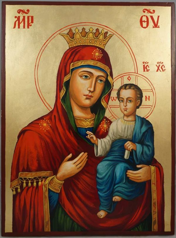 Theotokos Hodegetria the Guide Hand-Painted Byzantine Icon