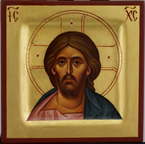 Christ Pantocrator Miniature Hand Painted Icon Byzantine Orthodox