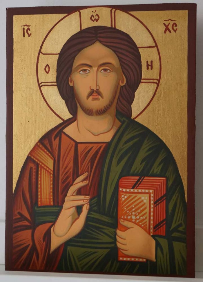 Christ Pantocrator small Hand Painted Byzantine Orthodox Icon on Wood