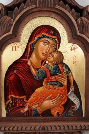Theotokos Eleusa Hand-Painted Orthodox Triptych