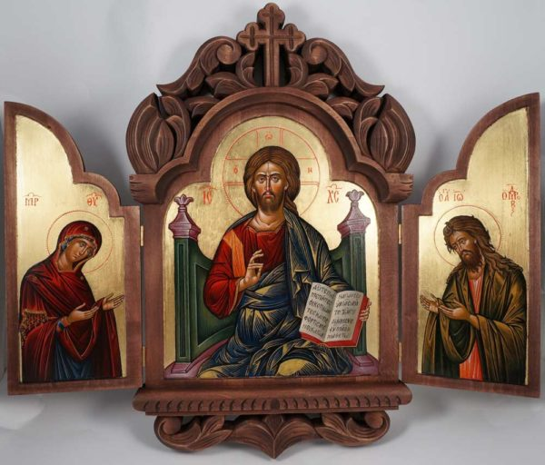 Deesis Hand-Painted Greek Orthodox Carved Wood Triptych