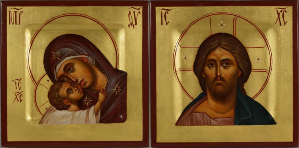 Hand-Painted Orthodox Icons Set Theotokos and Jesus Christ