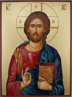 Jesus Christ Closed Book cm Hand Painted Orthodox Icon on Wood