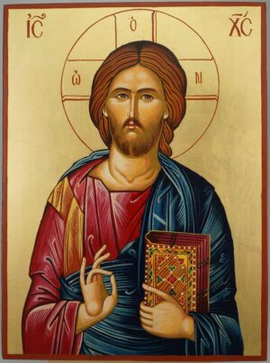 Jesus Christ Closed Book Icon Hand Painted Byzantine Orthodox