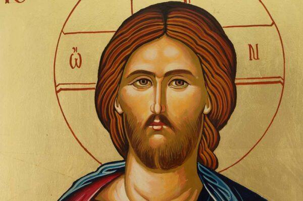 Jesus Christ Closed Book Icon Hand Painted Byzantine Orthodox