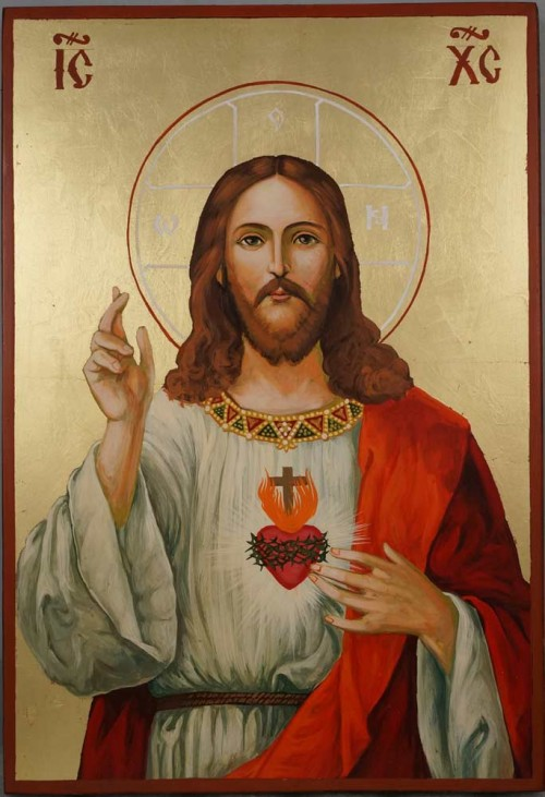 Jesus Christ Sacred Heart Large Hand Painted Roman Catholic Icon