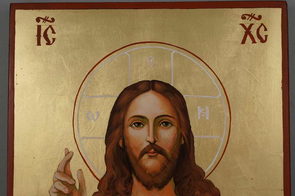 Jesus Christ Sacred Heart Large Hand Painted Roman Catholic Icon