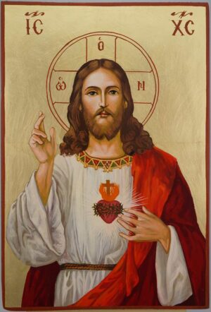 Jesus Christ Sacred Heart Large Icon Hand Painted Roman Catholic