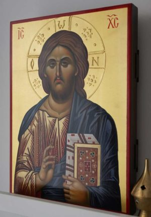 Jesus Christ Pantokrator (halo relief) Hand-Painted Orthodox Icon