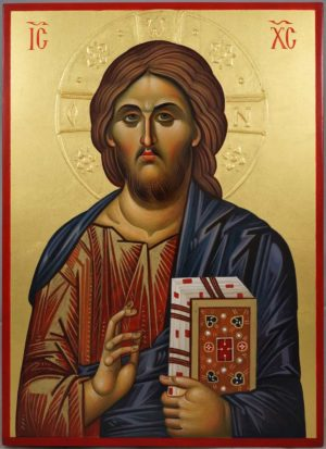 Jesus Christ Pantokrator (halo relief) Hand-Painted Orthodox Icon