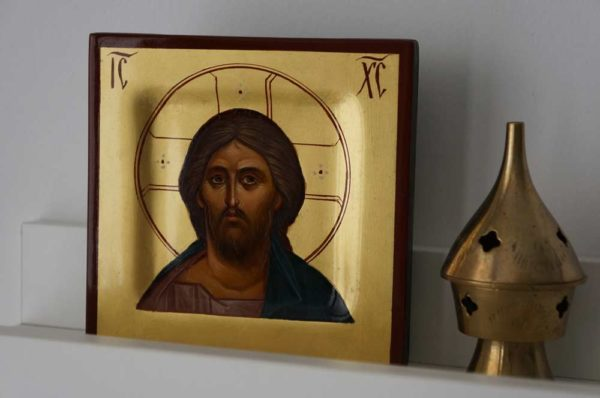 Hand-Painted Byzantine Icon of Christ Pantocrator Miniature