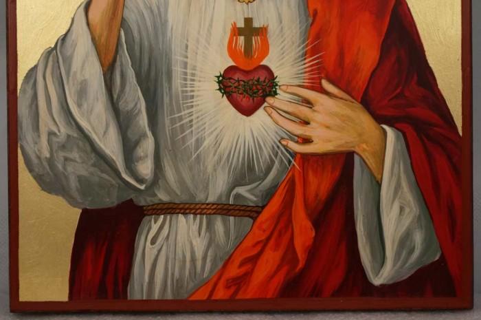 Hand-Painted Roman Catholic Icon of Jesus Christ Sacred Heart Large