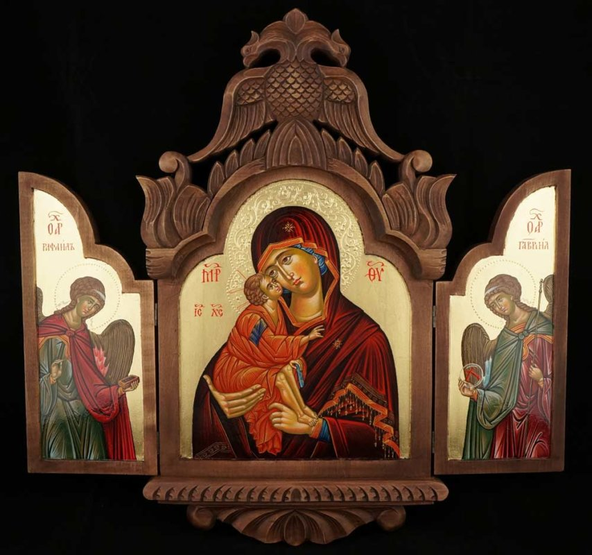 Our Lady of the Don Archangel Raphael and Gabriel Eleusa Hand Painted Orthodox Icon Triptych