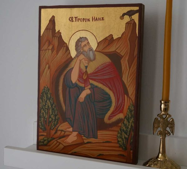 Prophet Elijah small Hand Painted Orthodox Icon on Wood