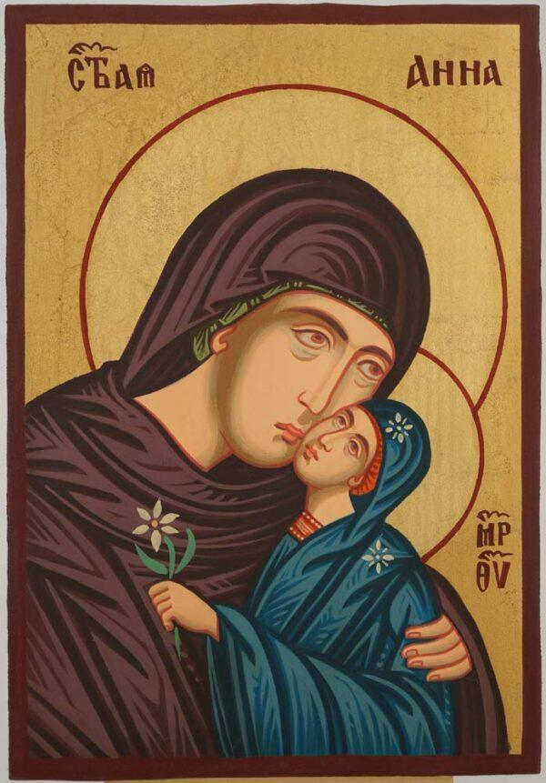 Saint Anna Icon small Hand Painted Byzantine Orthodox