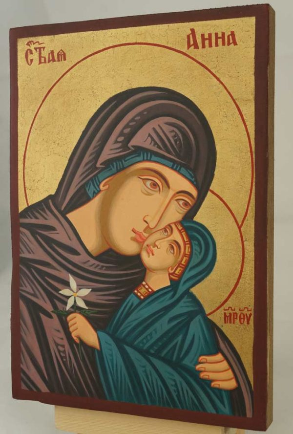 Saint Anna small Hand Painted Byzantine Orthodox Icon