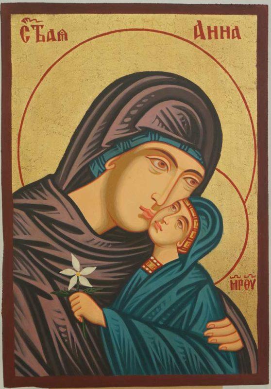 Saint Anna small Hand Painted Byzantine Orthodox Icon