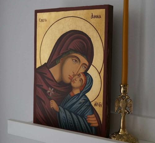 Saint Anna small Hand Painted Byzantine Orthodox Icon on Wood