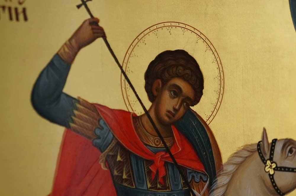 Saint George Slaying the Dragon Hand Painted Orthodox Icon on Wood