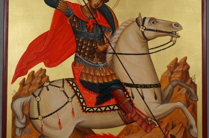 Saint George Slaying the Dragon Hand Painted Orthodox Icon on Wood