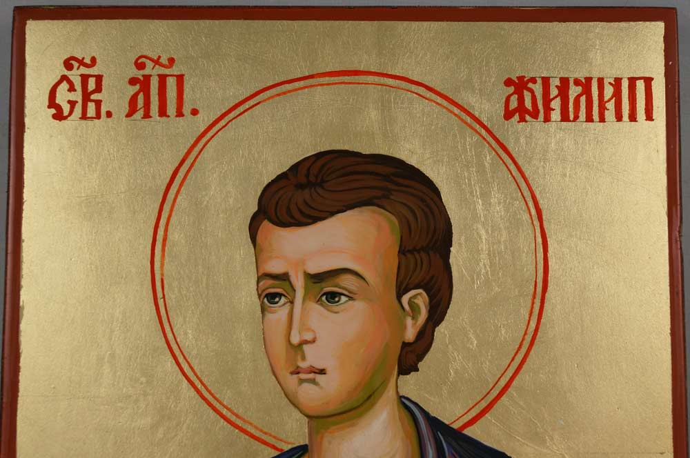 Saint Philip the Apostle Hand Painted Byzantine Orthodox Icon on Wood