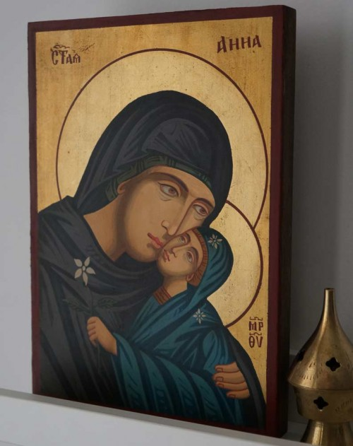 Saint St Anne Anna Hand Painted Orthodox Icon
