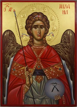 St Archangel Michael (halo relief) Hand-Painted Orthodox Icon