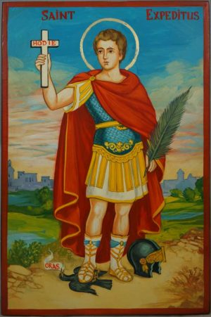 Saint Expeditus Expedite Hand-Painted Roman Catholic Icon
