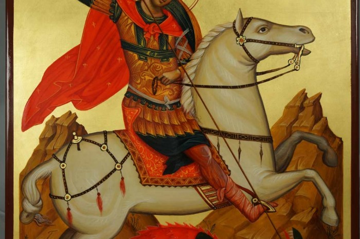 St George the Great Martyr Slaying the Dragon Hand-Painted Orthodox Icon