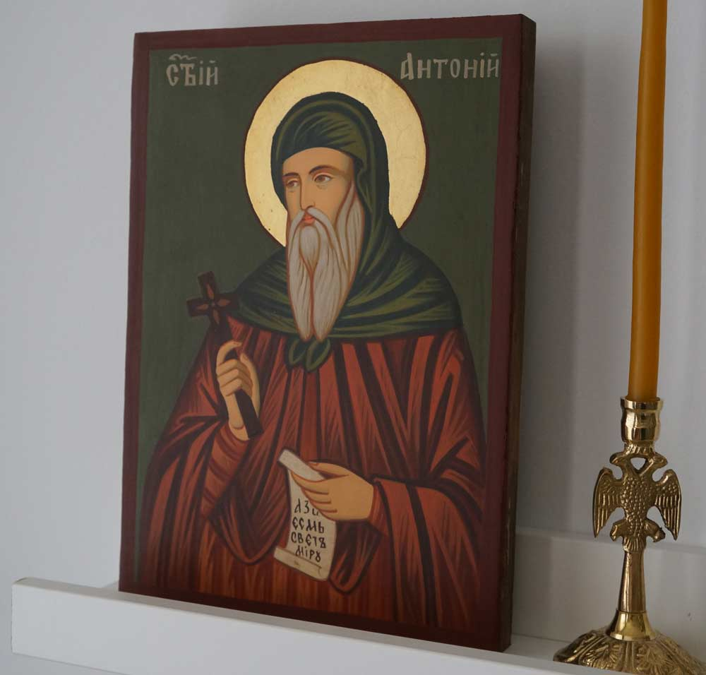 St Anthony the Great small Hand Painted Byzantine Orthodox Icon on Wood