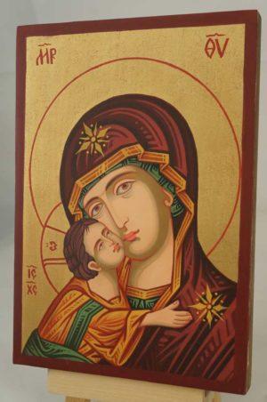 Theotokos Eleusa small Hand Painted Icon Byzantine Orthodox