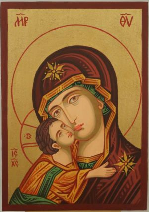 Theotokos Eleusa small Hand Painted Icon Byzantine Orthodox