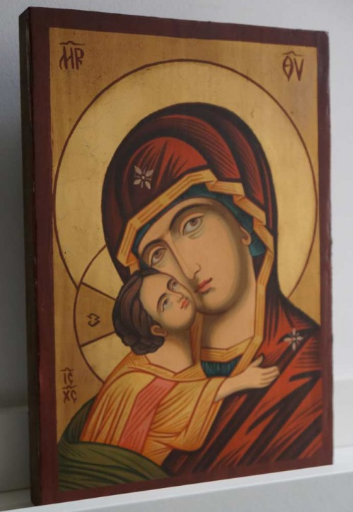 Theotokos Eleusa small Hand Painted Orthodox Icon on Wood