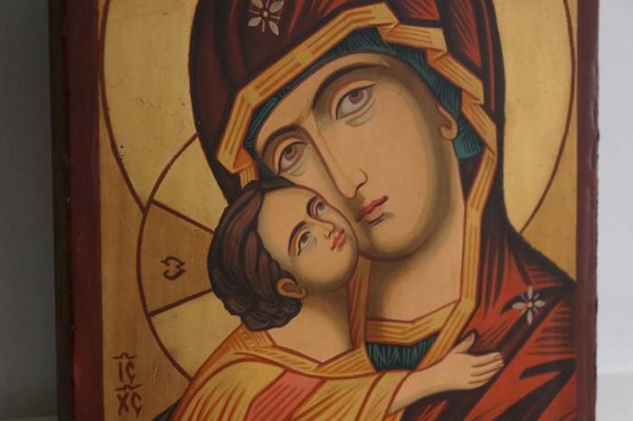 Theotokos Eleusa small Hand Painted Orthodox Icon on Wood