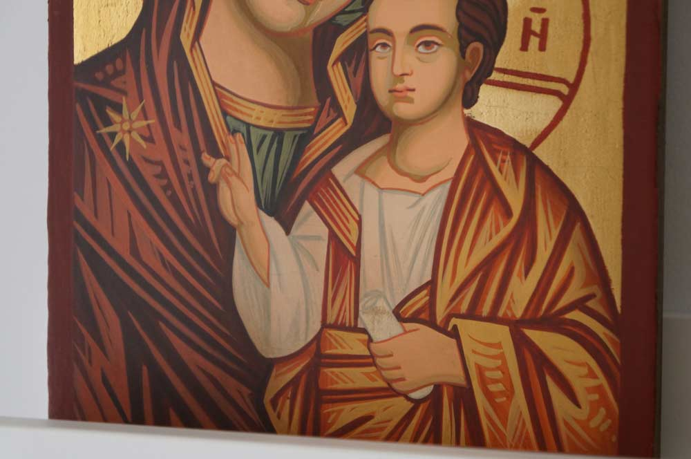 Theotokos Hodegetria small Hand Painted Byzantine Orthodox Icon on Wood