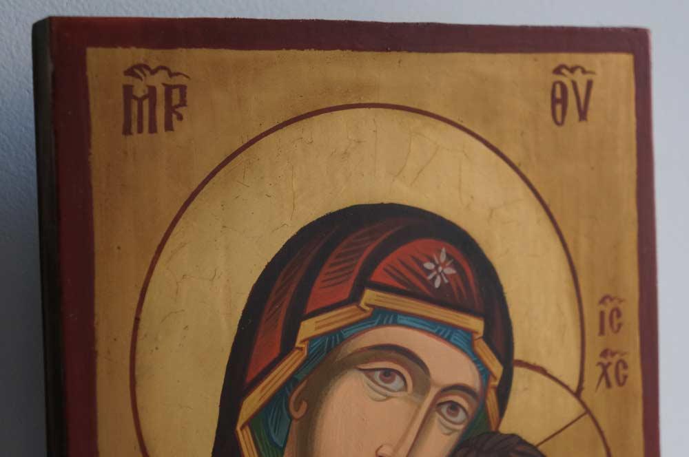 Theotokos Hodegetria small Hand Painted Orthodox Icon on Wood