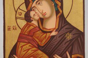 Theotokos of Vladimir Icon small Hand Painted Byzantine Orthodox