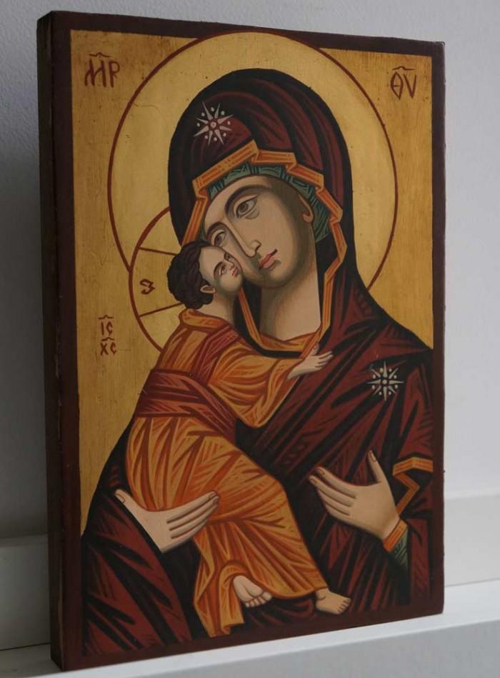 Theotokos of Vladimir small Hand Painted Byzantine Icon on Wood
