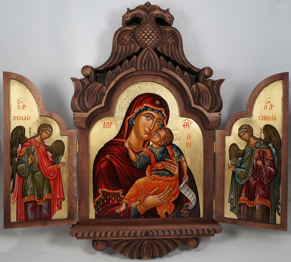 Theotokos Eleusa Hand-Painted Greek Orthodox Triptych