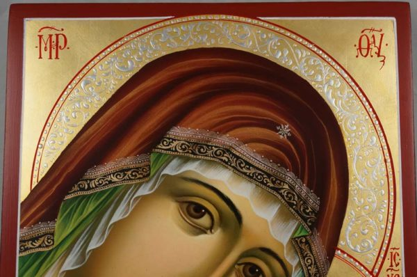 Hand-Painted Orthodox Icon of Virgin of Tenderness (Eleousa)