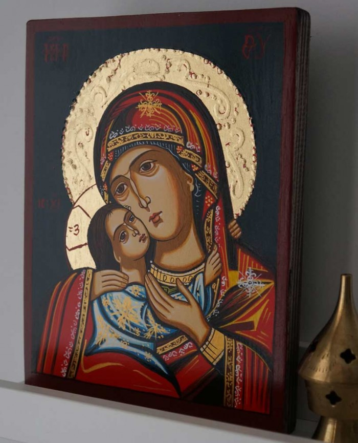 Theotokos Sweet Kissing Hand Painted Orthodox Icon on Wood