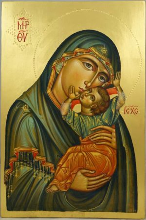 Theotokos Tenderness (Eleusa) Hand-Painted Byzantine Icon
