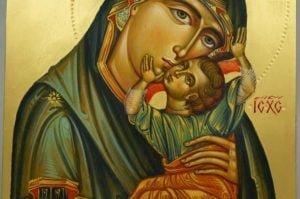 Theotokos Tenderness (Eleusa) Hand-Painted Byzantine Icon
