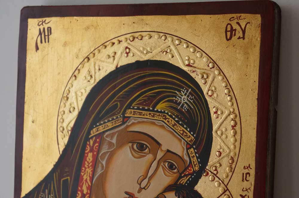 Virgin Mary Eleousa small Hand Painted Orthodox Icon