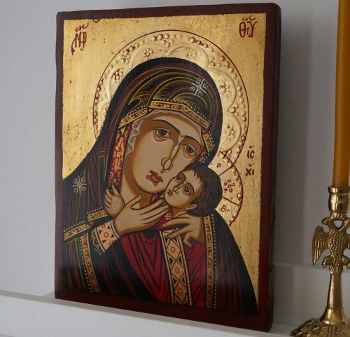 Virgin Mary Eleousa small Hand Painted Orthodox Icon on Wood