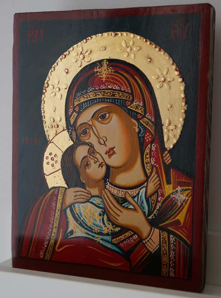 Virgin Mary Eleusa small Hand Painted Orthodox Icon