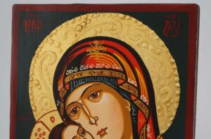Virgin Mary Eleusa small Icon Hand Painted Byzantine Orthodox