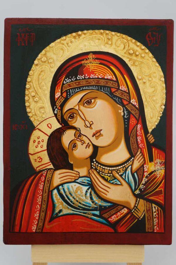 Virgin Mary Eleusa small Icon Hand Painted Byzantine Orthodox