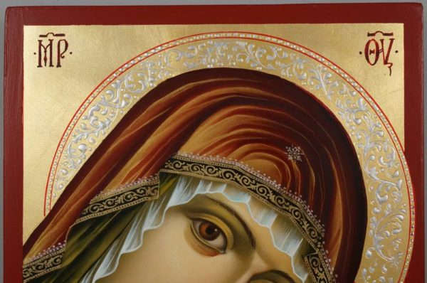 Hand-Painted Orthodox Icon The Virgin of the Sweet Kiss